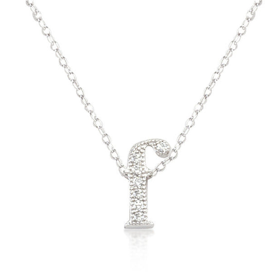 Alexia 0.3ct CZ White Gold Rhodium F Initial Micro Pave Pendant Necklace