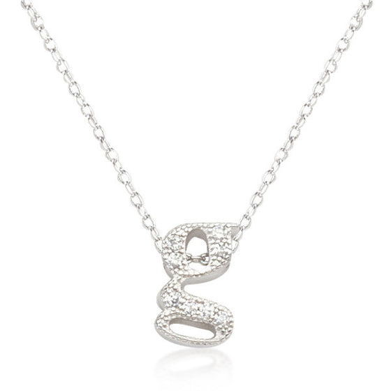 Alexia 0.3ct CZ White Gold Rhodium G Initial Micro Pave Pendant Necklace