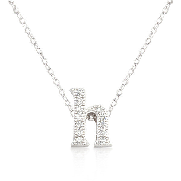 Alexia 0.3ct CZ White Gold Rhodium H Initial Micro Pave Pendant Necklace