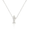 Alexia 0.3ct CZ White Gold Rhodium I Initial Micro Pave Pendant Necklace