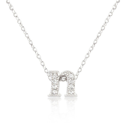 Alexia 0.3ct CZ White Gold Rhodium N Initial Micro Pave Pendant Necklace