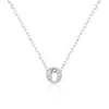 Alexia 0.3ct CZ White Gold Rhodium O Initial Micro Pave Pendant Necklace