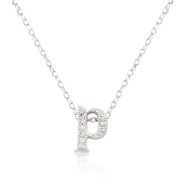 Alexia 0.3ct CZ White Gold Rhodium P Initial Micro Pave Pendant Necklace