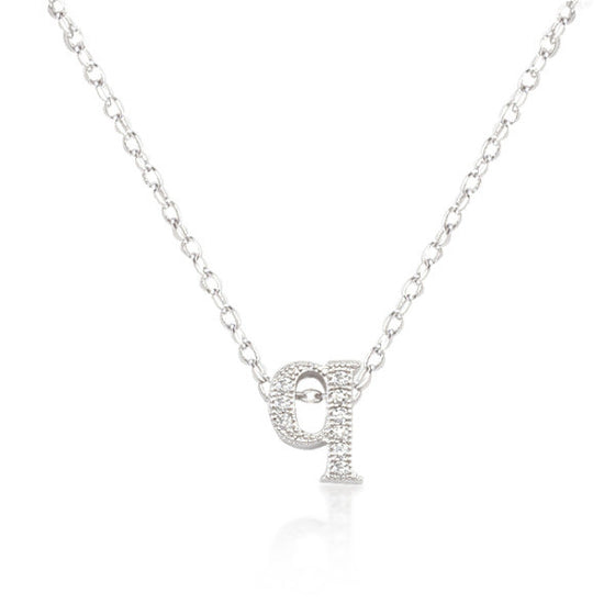 Alexia 0.3ct CZ White Gold Rhodium Q Initial Micro Pave Pendant Necklace