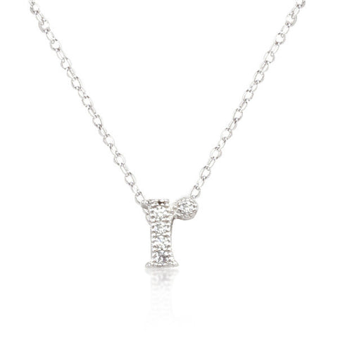 Alexia 0.3ct CZ White Gold Rhodium R Initial Micro Pave Pendant Necklace