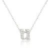 Alexia 0.3ct CZ White Gold Rhodium U Initial Micro Pave Pendant Necklace