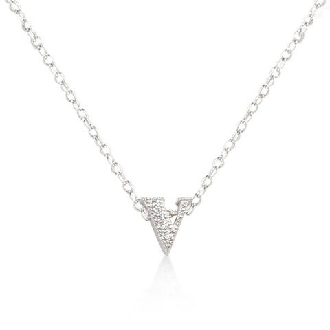 Alexia 0.3ct CZ White Gold Rhodium V Initial Micro Pave Pendant Necklace