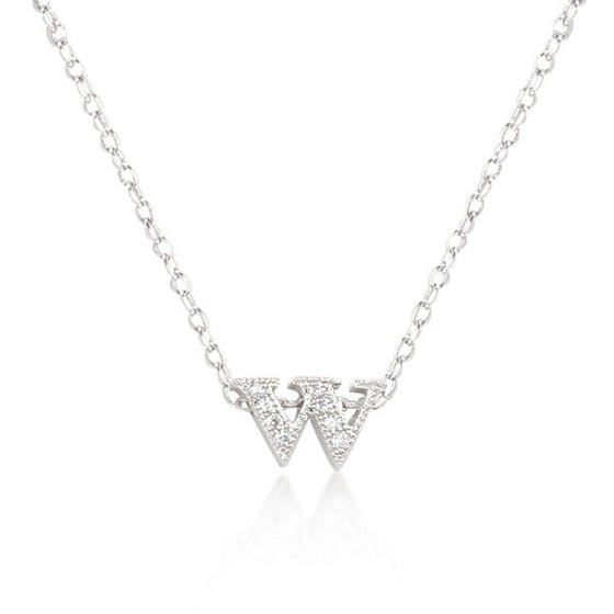 Alexia 0.3ct CZ White Gold Rhodium W Initial Micro Pave Pendant Necklace