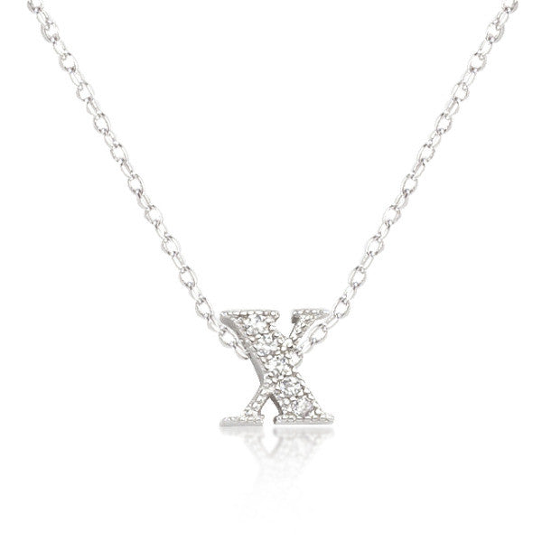 Alexia 0.3ct CZ White Gold Rhodium X Initial Micro Pave Pendant Necklace