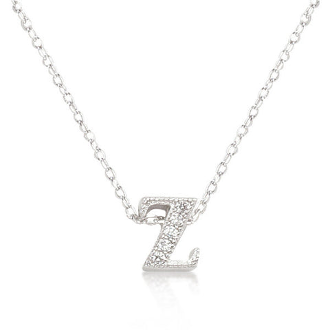 Alexia 0.3ct CZ White Gold Rhodium Z Initial Micro Pave Pendant Necklace