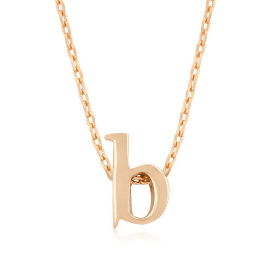 Alexia Rose Gold Pendant B Initial Necklace