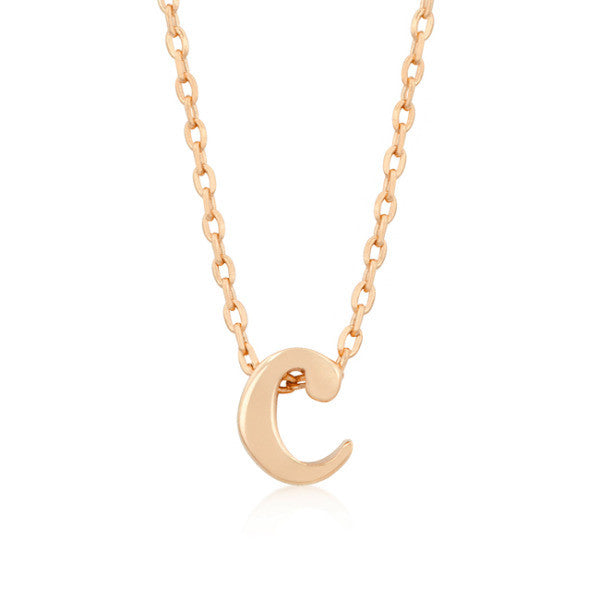 Alexia Rose Gold Pendant C Initial Necklace