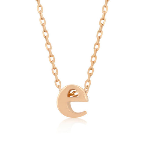 Alexia Rose Gold Pendant E Initial Necklace