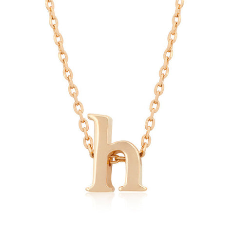 Alexia Rose Gold Pendant H Initial Necklace