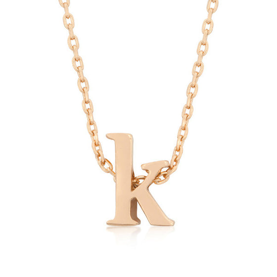 Alexia Rose Gold Pendant K Initial Necklace