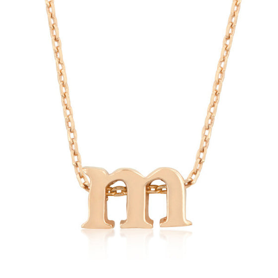 Alexia Rose Gold Pendant M Initial Necklace