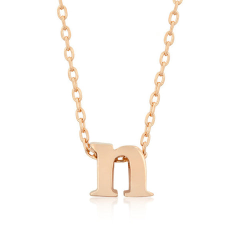 Alexia Rose Gold Pendant N Initial Necklace