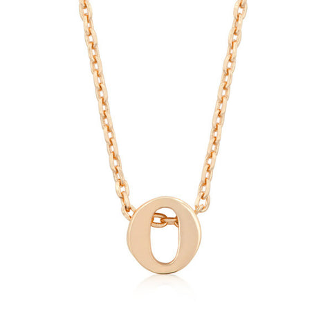 Alexia Rose Gold Pendant O Initial Necklace