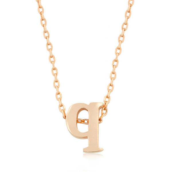 Alexia Rose Gold Pendant Q Initial Necklace