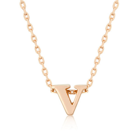 Alexia Rose Gold Pendant V Initial Necklace