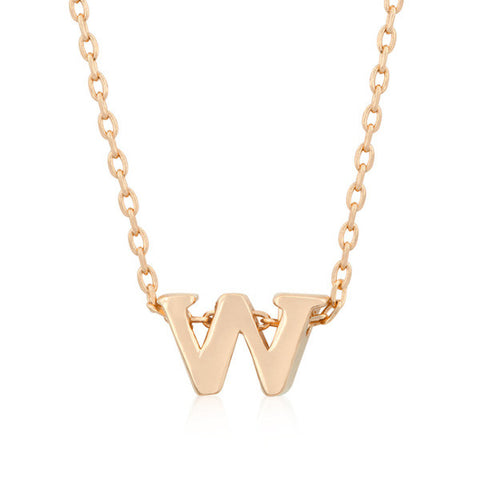 Alexia Rose Gold Pendant W Initial Necklace