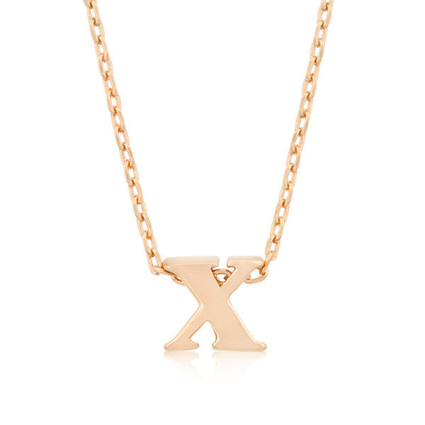 Alexia Rose Gold Pendant X Initial Necklace
