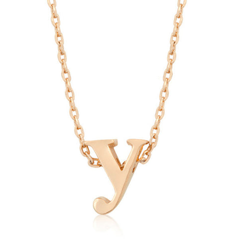 Alexia Rose Gold Pendant Y Initial Necklace