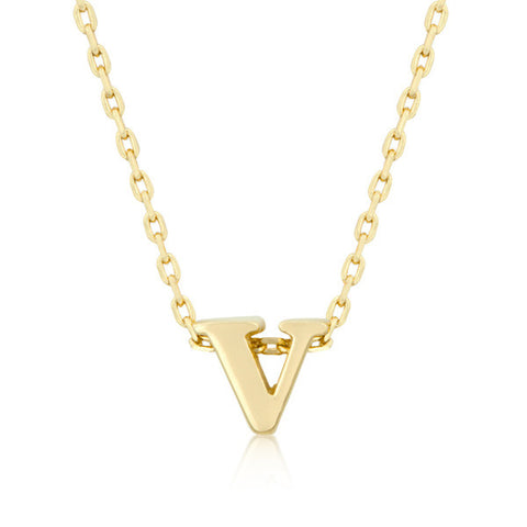 Alexia 14k Gold Pendant V Initial Necklace