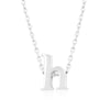Alexia White Gold Rhodium Pendant H Initial Necklace