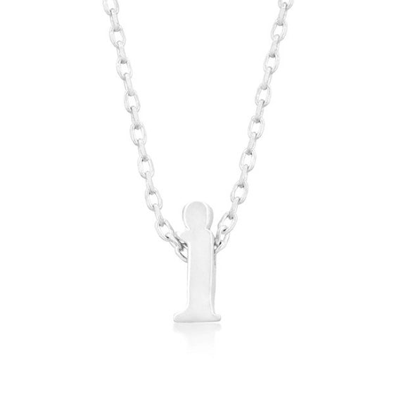 Alexia White Gold Rhodium Pendant I Initial Necklace