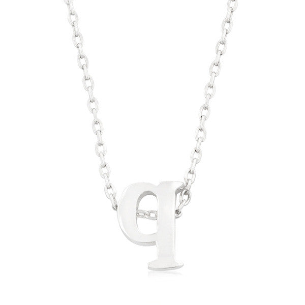 Alexia White Gold Rhodium Pendant Q Initial Necklace
