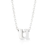 Alexia White Gold Rhodium Pendant U Initial Necklace