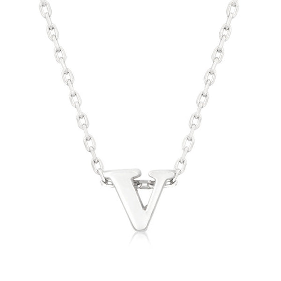 Alexia White Gold Rhodium Pendant V Initial Necklace