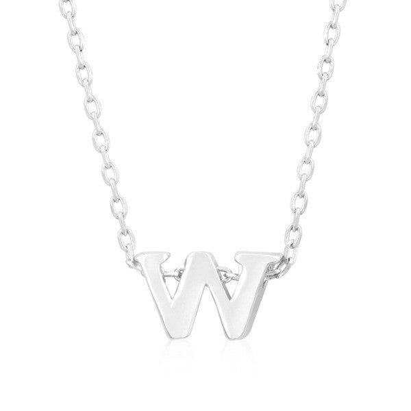 Alexia White Gold Rhodium Pendant W Initial Necklace
