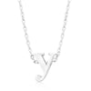 Alexia White Gold Rhodium Pendant Y Initial Necklace