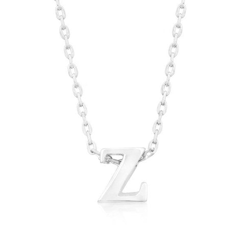 Alexia White Gold Rhodium Pendant Z Initial Necklace