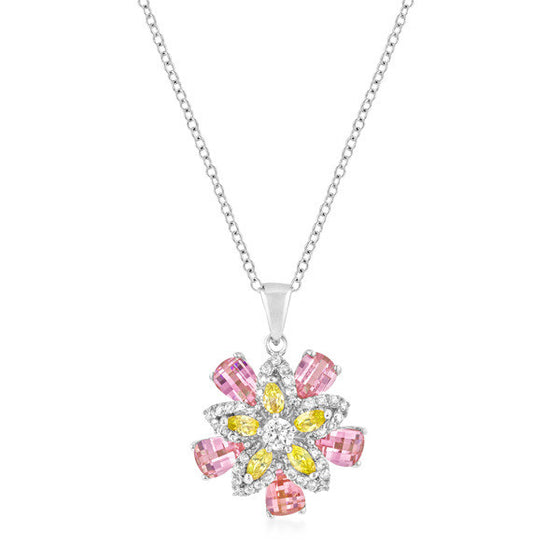 Mirisa 5.5ct Multicolored CZ White Gold Rhodium Flower Necklace