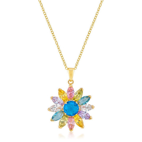 Sandra 14.1ct Multicolored CZ 14k Gold Flower Necklace