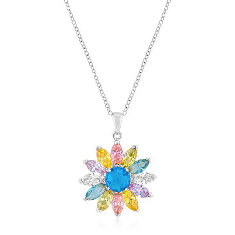 Sandra 14.1ct Multicolored CZ White Gold Rhodium Flower Necklace