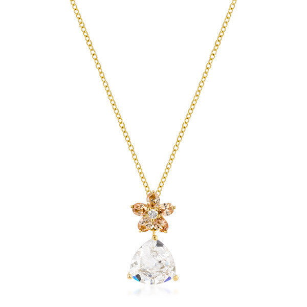 Gloria 8.9ct CZ 14k Gold Trillion Floral Pendant