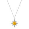 Clara 10.1ct Multicolor CZ White Gold Rhodium Sun Pendant