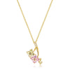 Kaylen 1.5ct Multicolor CZ 14k Gold Floral Drop Necklace