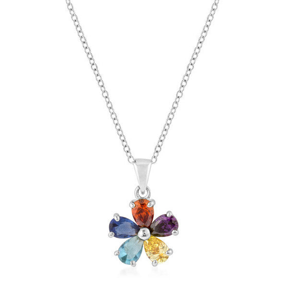 Sasha 2.1ct Multicolor CZ White Gold Rhodium Floral Necklace