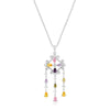 Silvertone Multi-Color Dangle Pendant