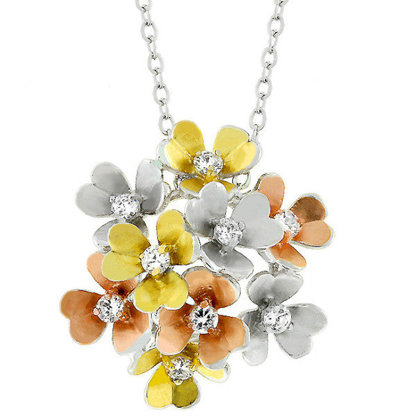 Ciara 0.1ct CZ White Gold Rhodium Floral Cluster Necklace
