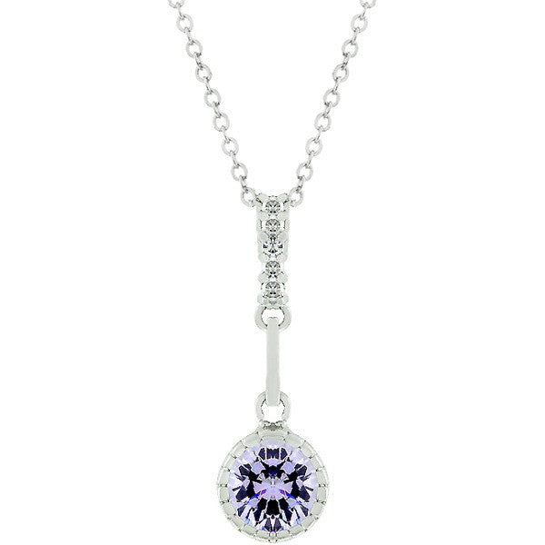 Mavis 1.3ct Lavender CZ White Gold Rhodium Pendant Necklace