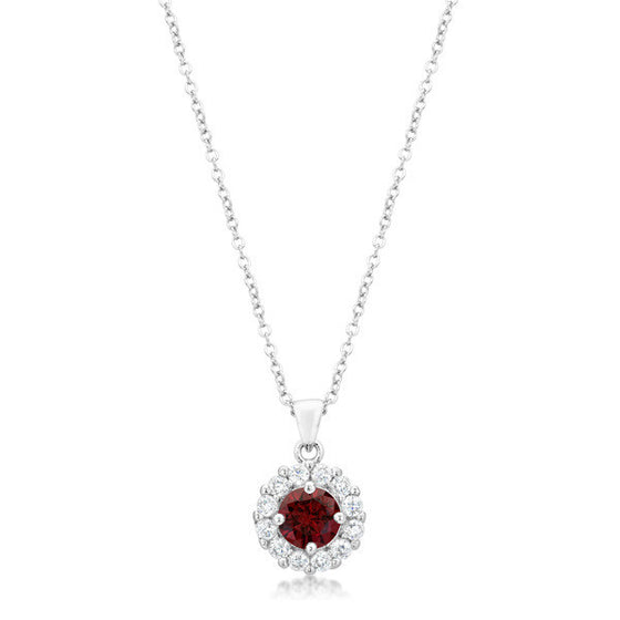 Emmelina Bridal Pendant in Garnet Red