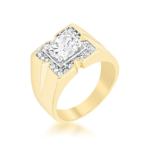 3ct CZ 18k Gold Star Men's Ring