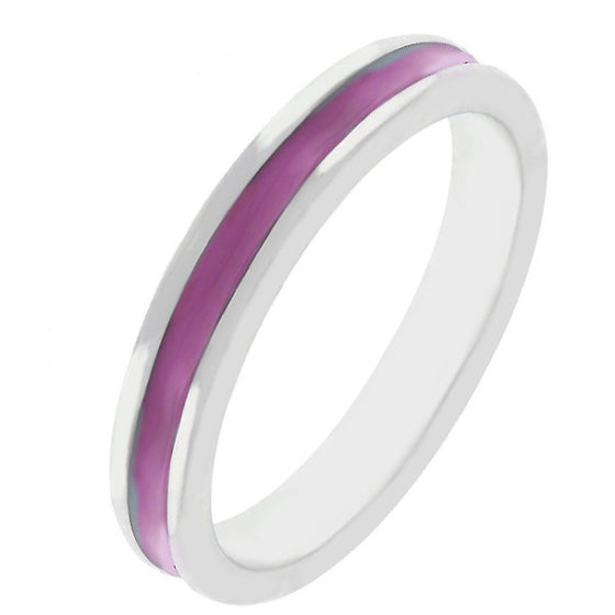 Theresa Fuchsia Enamel White Gold Rhodium Eternity Band