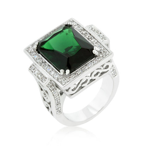 Emyra 8ct Emerald CZ White Gold Rhodium Cocktail Ring